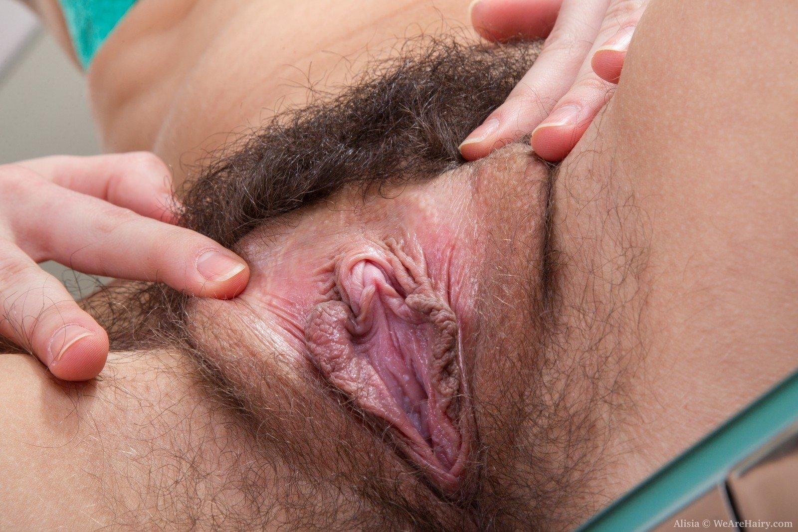 фото волосатой пизды крупным планом пальцами раздвигает половые губы